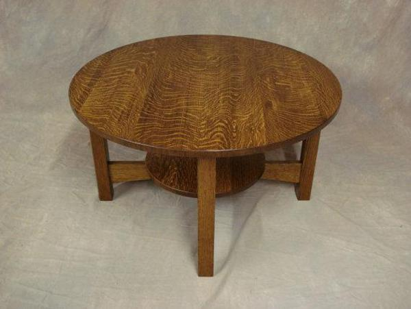 Round Quartersawn Oak Mission Coffee Table Woodruff Custom Furniture