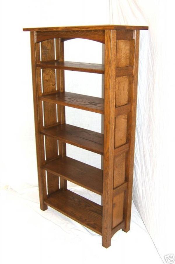 HANDMADE GRADUATED MISSION OAK BOOKCASE TALL BOOKSHELF - Woodruff Custom Furniture