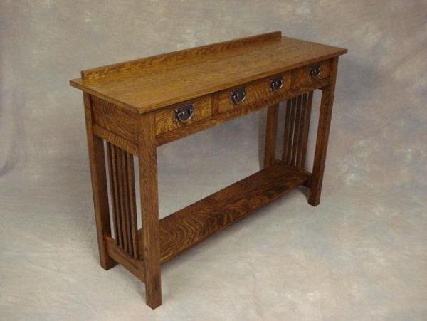 Arts U0026 Crafts Oak Server Three Drawer Spindle Side Sofa Or Hall Table